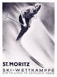 Moritz, Ski Wettkampfe, Vintage Poster, by Carl Moos Fürstentum Liechtenstein, Vintage Ski Posters, Snow Skiing, Illustrations, Park City, Ski Park, Snowboarding, Giclee Print, Utah