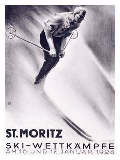 St. Moritz. vintage ski poster