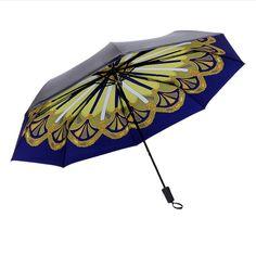 Sunny Rainy Umbrella Rome Cartoon Style Dream Windmill Pattern Bohemia Ethnic Customs Folding Household Merchandises Rain Gear #Affiliate