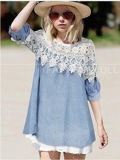 Lace Fashion Clubwear Short Sleeve Mini Blue Cute Boho/Bohemian Blouse Dress #EverythingVogue #Casual #Clubwear