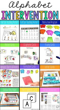 Alphabet resources for intervention: A sequenced program with several choices for visuals, an automaticity activity for each letter, picture cards for initial sound matching, and parent resources. Teaching Posters, Teaching Reading, Guided Reading, Reading Intervention Classroom, Teaching Ideas, Early Intervention, Kindergarten Literacy, Letter Recognition Kindergarten, Letter Recognition Games