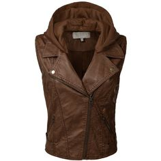 BIADANI Women Faux Leather Hoodie Moto Vest ❤ liked on Polyvore featuring outerwear, vests, fake leather vest, brown faux leather vest, brown vest, brown waistcoat and vest waistcoat