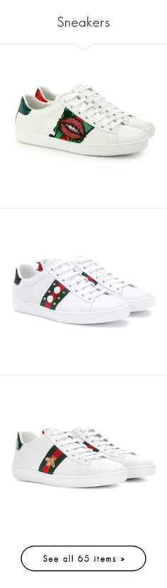 """Sneakers"" by hemmo1drauhl on Polyvore featuring shoes, sneakers, gucci, white leather sneakers, white sneakers, white trainers, lace up sneakers, leather low top sneakers, white e leather trainers"