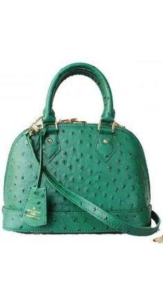 Louis Vuitton Alma Ostrich Leather Bag Green BB M91606 #cheapestlouisvuittonhandbags