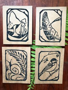 These four original block printed designs are our new nature series entitled Woodland Walk. Printed on a natural brown card, they are ready for your happy messages inside Lino Art, Linoleum Block Printing, Linoprint, Inspiration Art, Linocut Prints, Woodblock Print, Art Images, Making Ideas, Printmaking