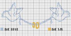 Alors j'ai pour vous une petite grille qui pourrait faire l'affaire d'une carte ou d'un petit tableau, vous pouvez mettre les initiales entre les deux colombes par exemple ou alors chaque initiale sous chaque colombe et la date au milieu au dessus de...