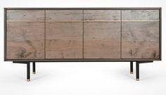 Wüd Furniture Design Tompkins Sideboard || Oxidized Ambrosia Maple, Blackened Bronze Encased In Resin, Bronze Contoured Pulls