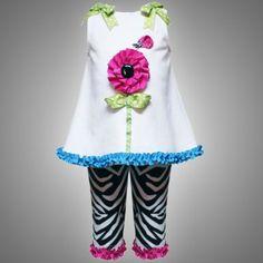 Amazon.com: Size-2T RRE-54082E 2-Piece WHITE BLACK ZEBRA PRINT DIMENSIONAL FLOWER STEM APPLIQUE Dress/Top and Legging Outfit Set,E254082 Rare Editions TODDLERS: Clothing