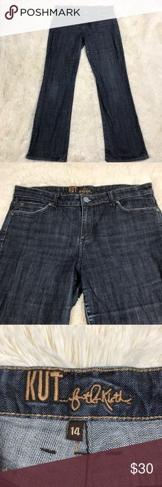 🇺🇸SALE🇺🇸Kut From The Kloth Wide Leg Jeans 14 Women's size 14 dark wash KUT from the Kloth wide leg denim jeans. 98% cotton, 2% spandex. Bottom of the jeans show very light wear. Otherwise, good condition. Kut from the Kloth Jeans Flare & Wide Leg