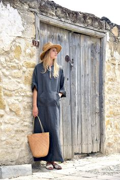 Black olive sexy tunic. Pure linen caftan for women. by YUMEworld