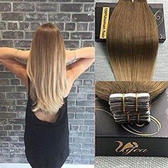 Tape in Balayage Ombre Light Brown to Caramel Blonde Human Hair Extensions 50g/20pcs T#8/16