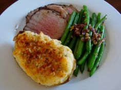 Roast Beef, Green Beans and Twice Baked Potato