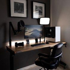 Computer Desk Setup, Gaming Room Setup, Pc Setup, Home Office Setup, Home Office Desks, Home Studio Desk, Minimal Desk, Dream Desk, Modern Office Design