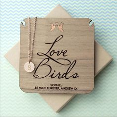 'Love Birds' Personalised Single Charm Necklace - Rose Gold (Shown), Gold or Silver