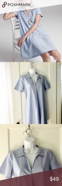 Madewell Chambray Swingout Shirtdress w/Pockets So comfy!  Has pockets!  Measures 21 inches armpit to armpit and 35.5 inches from shoulder to hem. (Belt for styling ideas only, not for sale.) Madewell Dresses