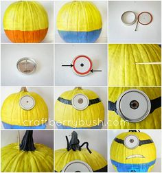 How to Make Halloween Minions Pumpkins - DIY & Crafts - Handimania  What you need:  Tools:  Long screw  Wooden skewer  Hot glue    Supplies/Ingredients:  Pumpkin (real or fake)  Canning jar lids  Yellow outdoor paint or spray paint  Blue outdoor paint or spray paint  White paint  Black and brown paint or Sharpie