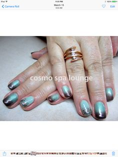 Teal and brown gradient glitter. #cosmospalounge #nailart #handpainted #gradient #glitter