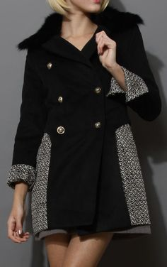 Contrast Panel Double Breasted Coat in Black