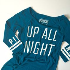 """VS PINK Up All Night Sleep Tee Victoria's Secret PINK Teal and White Sleep Shirt! Says """"Up All Night"""" and """"Pink"""" on each sleeve. 27"""" on side hems and 29"""" in the middle, about 17"""" pit to pit, and sleeves 13"""". 60% cotton 40% polyester. It's a thinner material. Barely worn so in great condition!!! NO TRADES. PINK Victoria's Secret Intimates & Sleepwear Pajamas"""