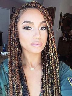 Colorful Brown Box Braids Style