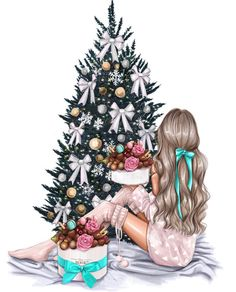 Fashion Illustration Speed Painting with Ink - Drawing On Demand Art And Illustration, Christmas Illustration, Christmas Drawing, Christmas Art, Wallpaper Natal, Arte Fashion, Girly Drawings, Christmas Wallpaper, Christmas Pictures