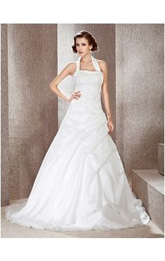 A-line Halter Court Train Wedding Dress With Beaded Appliques