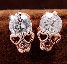 CZ Skull Stud Earrings