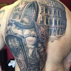 Cool Gladiator Tattoo Designs For Men On Back