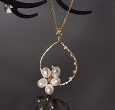 White freshwater pearl flower pendant necklace | 14k gold filled wire and chain | Cherry blossom flower | Woodland wedding bridal formal jewelry - Wedding nacklaces (*Amazon Partner-Link)