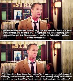 how i met your mother barney says love you to robin – Love Kawin Barney Quotes, Barney Stinson Quotes, Say Love You, I Meet You, My Love, How I Met Your Mother, Barney And Robin, Ted Mosby, Tv Show Quotes
