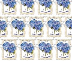 French Hydrangeas fabric by karenharveycox on Spoonflower - custom fabric