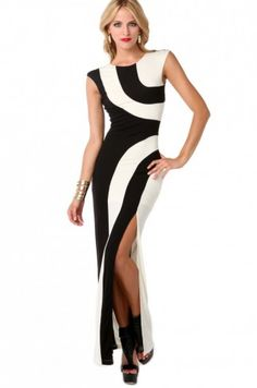 Graphic Colorblocked Maxi Dress in Black Cream