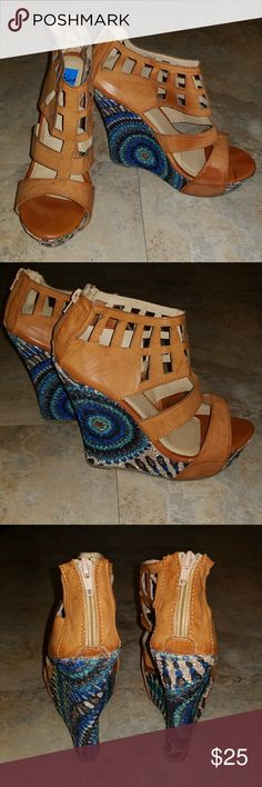 Blue Wedge Shoe Wedge shoe with tan leather straps with a funky pattern wedge and zipper on back. Shoes Wedges