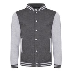 Just Hoods JH043 Charcoal and Heather Grey Varsity Jacket - £19.35