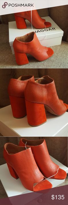 New Jaggar Chunky Heels Orange Suede/Leather Open New Jaggar Chunky Heels Orange Suede/Leather Open Toe Women's Shoes Size 8.  Very Stylish and modern look. Absolutely comfortable. jaggar Shoes Ankle Boots & Booties