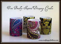 DIY Vera Bradley inspired candles Battery Candles, Flameless Candles, Decorative Napkins, Vera Bradley, Crafty Craft, Easy Crafts, Crafts To Do, Napkin Decoupage, Decoupage Ideas