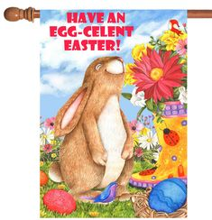 "Easter Grass Hide Colorful Egg Garden Flag Home Decor Yard Banner28x40/""//12.5x18/"""