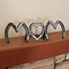Horseshoe heart art, MOM, Mother's Day, birthday sign, American made, MADE to ORDER. $119.00, via Etsy.