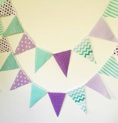 Purple, Lavender, Mint, Turquoise, Banner, Bunting, Garland Fabric Pennant Flags, Party Banner, Girl Birthday Party, Baby Shower, Wedding by vintagegreenlimited on Etsy https://www.etsy.com/listing/160245526/purple-lavender-mint-turquoise-banner