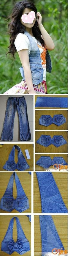 Turn old jeans into vest by mavrica