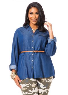 Belted Denim Tunic - Ashley Stewart