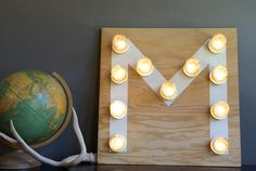 Oleander and Palm tutorial for a Mason jar monogram light.  I love this idea for a teenager's room.