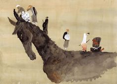 Taiyo Matsumoto illustration based on Kurosawa's Seven Samurai. Also of note: Matsumoto's putting together an illustration. Japan Illustration, Japanese Prints, Japanese Art, Collages, Comic Artist, Manga Art, Art Inspo, Painting & Drawing, Samurai