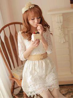 Mango Doll - Elegant Lace Chiffon Belted Dress, $48.00 (http://www.mangodoll.com/all-items/elegant-lace-chiffon-belted-dress/)