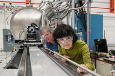 Yuko Shiroyanagi (right) and Chuck Doose of the Accelerator Science Division prepare the magnetic measurement test stand. Testing ensures that the super-conducting undulator for the Advanced Photon Source upgrade will meet the high-precision requirements needed to generate the world's brightest X-rays above energies of 25 keV.