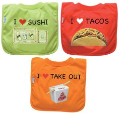 green sprouts by i play Favorite Food Absorbant Bib - Sushi/Takeout/Taco
