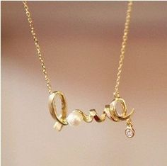 Love Pearl Necklace 18K Gold Plated Statement Fashion Jewelry Wedding Anniversary Gift