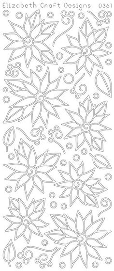 ELIZABETH CRAFT POINSETTIAS DAISIES 2STICKY 0361 DOUBLE STICK Peel Off Stickers OUTLINE