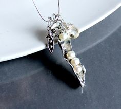 Peas In A Pod Necklace - OOAK Artisan Sculpted. Starting at $1 on Tophatter.com!