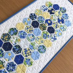 Pretty floral hexagon Table Runner or Wall Hanging, bring a piece of a Summer garden to your table (or Wall). Just listed and ready to ship!